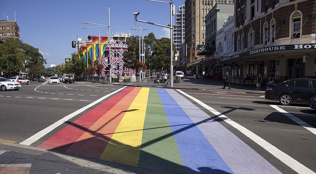 Rainbow Crossing on Oxford Street in Darlinghurst by Bidgee