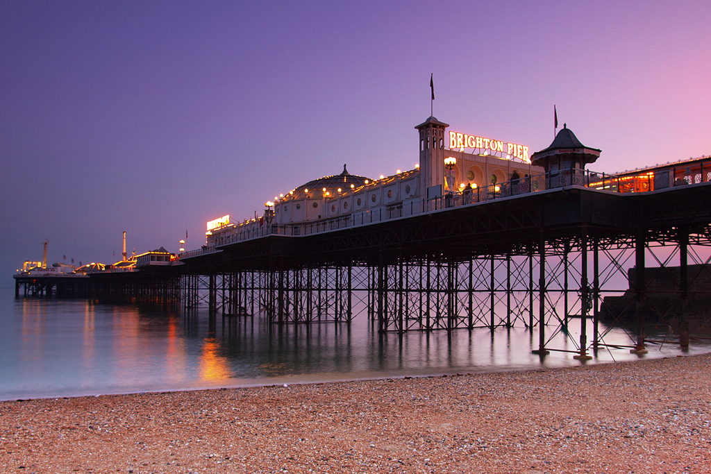 By hozinja (Brighton Pier at dusk, UKUploaded by BaldBoris)